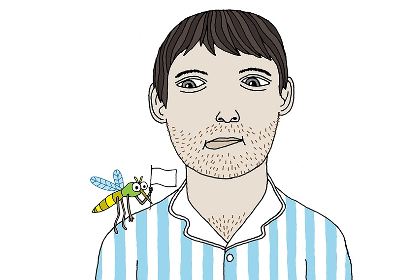 hand drawing vector moustache hair beard man fashion pyjamas portrait figurative humorous emotion people puzzled mosquito flag stripe stripes sceptical animal insect
