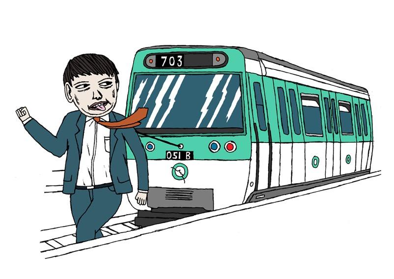 hand drawing figurative vector man humorous run running metro subway late transportation work