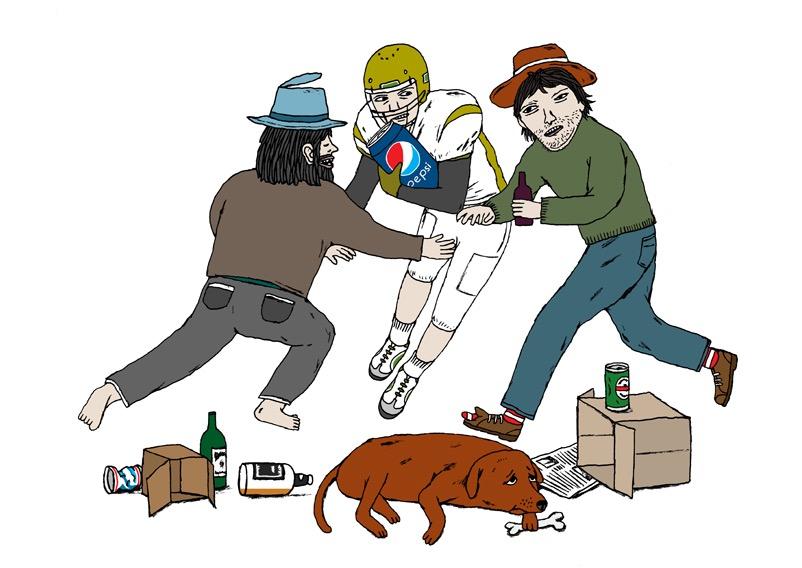 hand drawing figurative vector men humorous people dog bum hobo animal