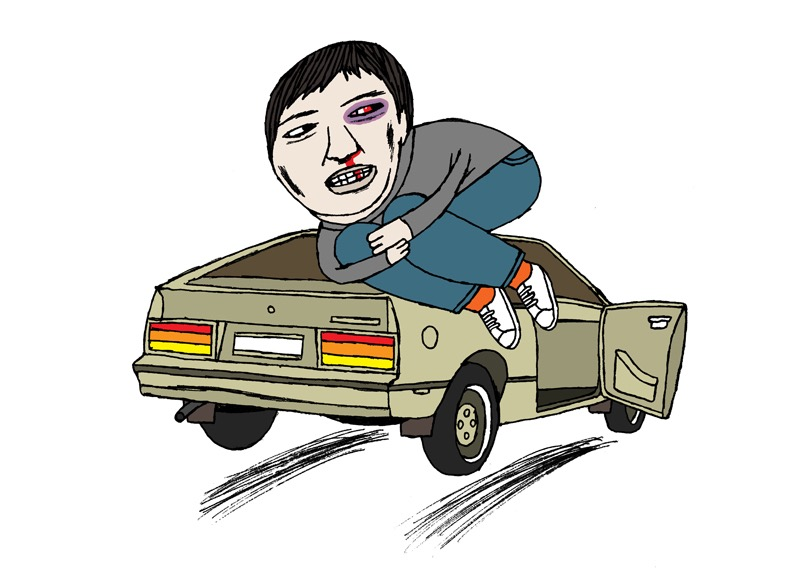 hand drawing figurative vector man humorous people portrait eyes car transportation man injured wounded foetus