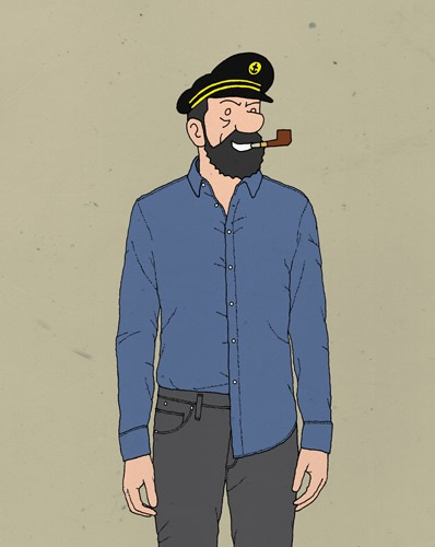 hand drawing figurative vector man fashion humorous people celebrity capitaine Haddock captain shirt portrait pipe smile