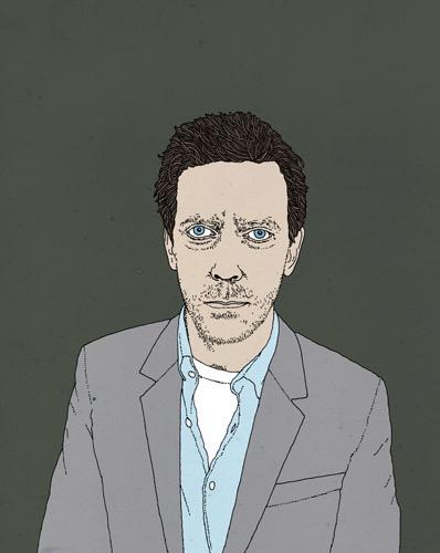 hand drawing figurative vector man fashion humorous people celebrity Dr House Hugh Laurie t-shirt shirt jacket portrait