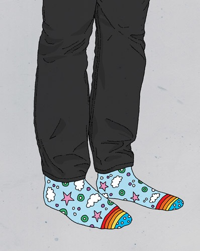 hand drawing vector man fashion trousers socks fantasy humorous people close up rainbow stars clouds details