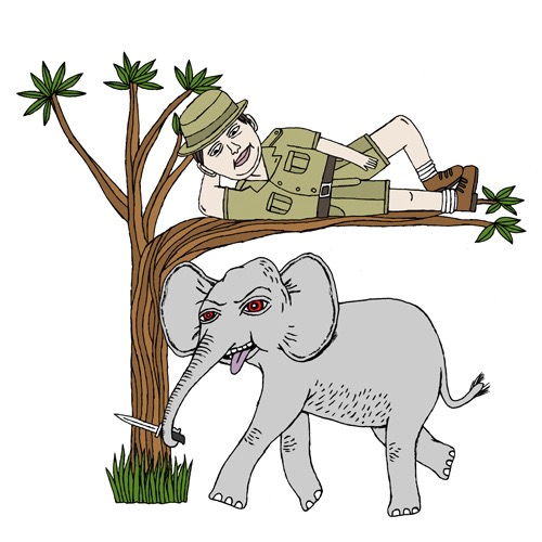 hand drawing vector figurative humorous man people safari elephant animal tree nature knife nature animals travel