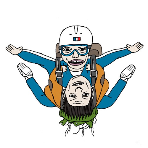 hand drawing vector figurative humorous man people men parachute jump flying fly air sport sports aviation leisure