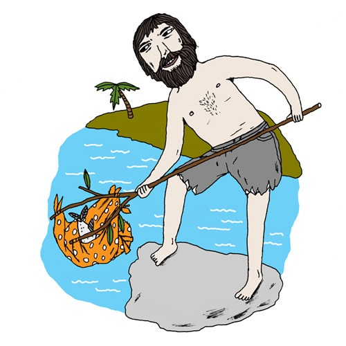 hand drawing vector figurative humorous man people Robinson Crusoe celebrity beard short see fish survive palms island fishing fishes rock