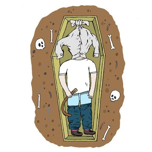 hand drawing vector figurative humorous death coffin man people absurd bizarre shirt head trousers belt skulls bones open people