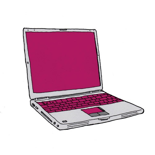 hand drawing vector humorous object products Still Life computer laptop