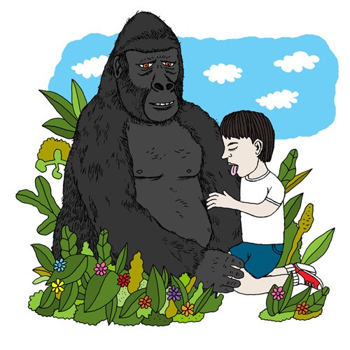 hand drawing vector man child boy gorilla animal nature plants clouds sky tongue love humorous people absurd bizarre figurative children emotions