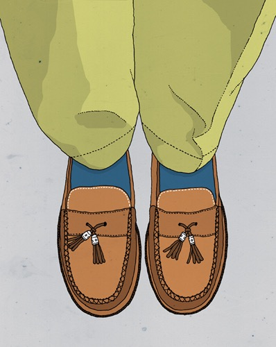 hand drawing vector man fashion figurative humorous close up Lifestyle shoes loafer loafers