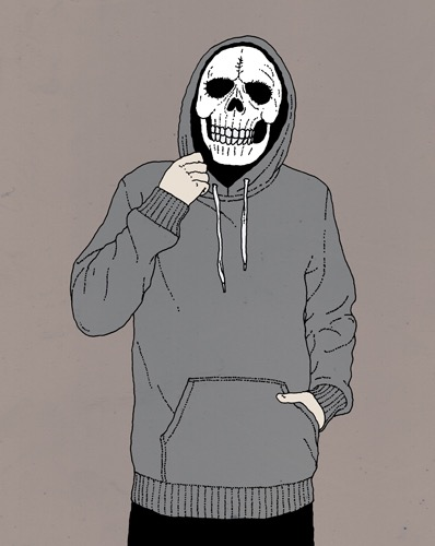 hand drawing vector man fashion muscles strength portrait figurative humorous hooded sweat-shirt hoodie skull and crossbones bizarre horror people