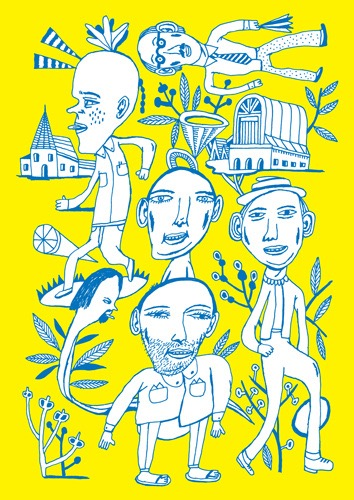 Imaginary Landscapes hand drawing vector figurative humorous man people dream woman men bizarre