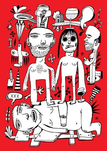 Imaginary Landscapes hand drawing vector figurative humorous man people dream woman men planes lying bizarre