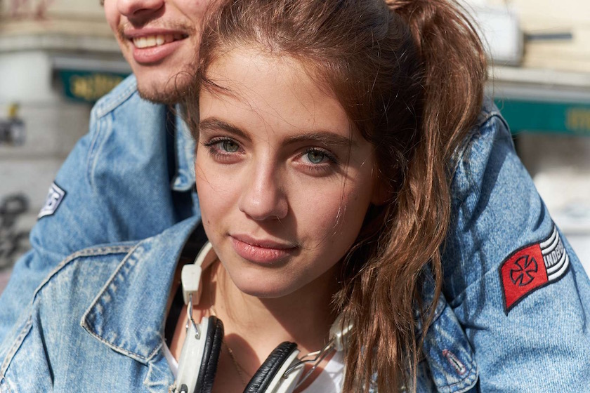 girl boy woman couple face denim jeans jacket hair gaze headphones earphones