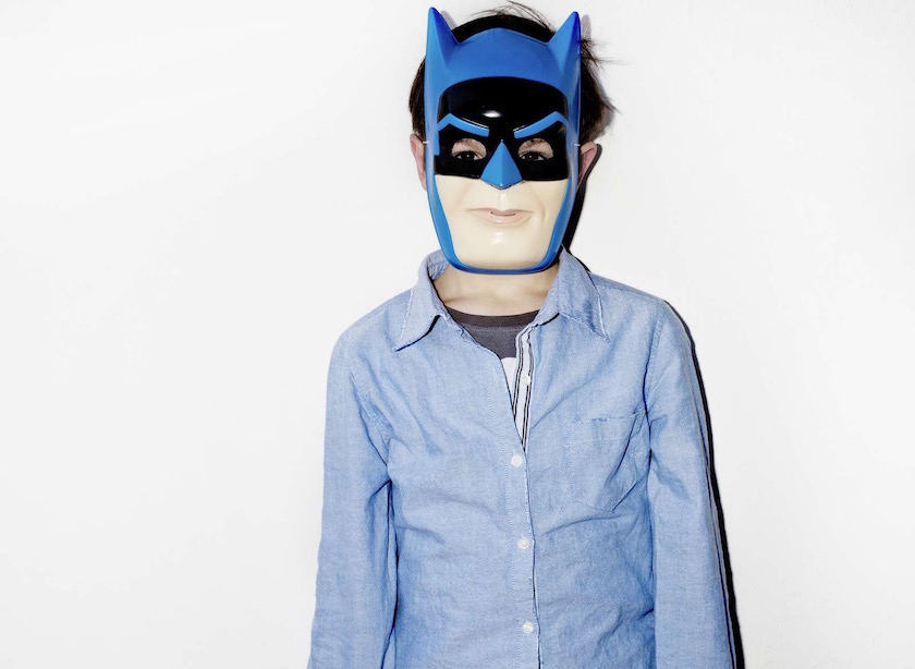 boy kid mask blue batman hero shirt covered masked hidden hide costume