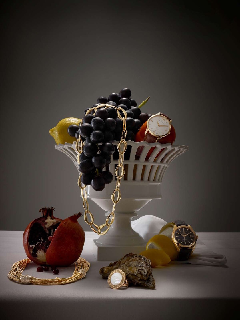 jewelry gold golden ring chain watch fruit fruits pomegranate grapes lemon