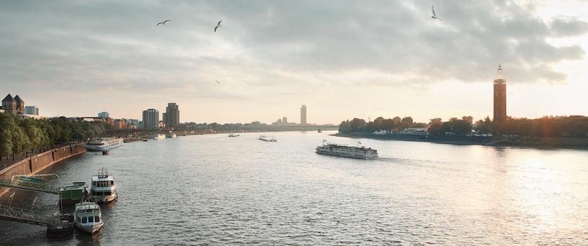 river ship ships ferry tower sky
