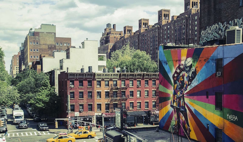 city street streets building buildings cabs taxi cab taxi traffic mural usa