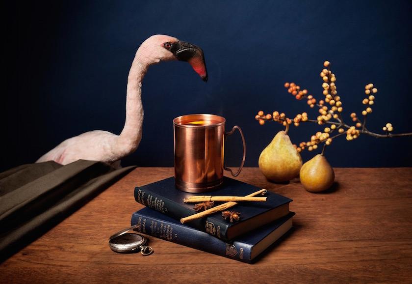 stills pear flamingo drink wine
