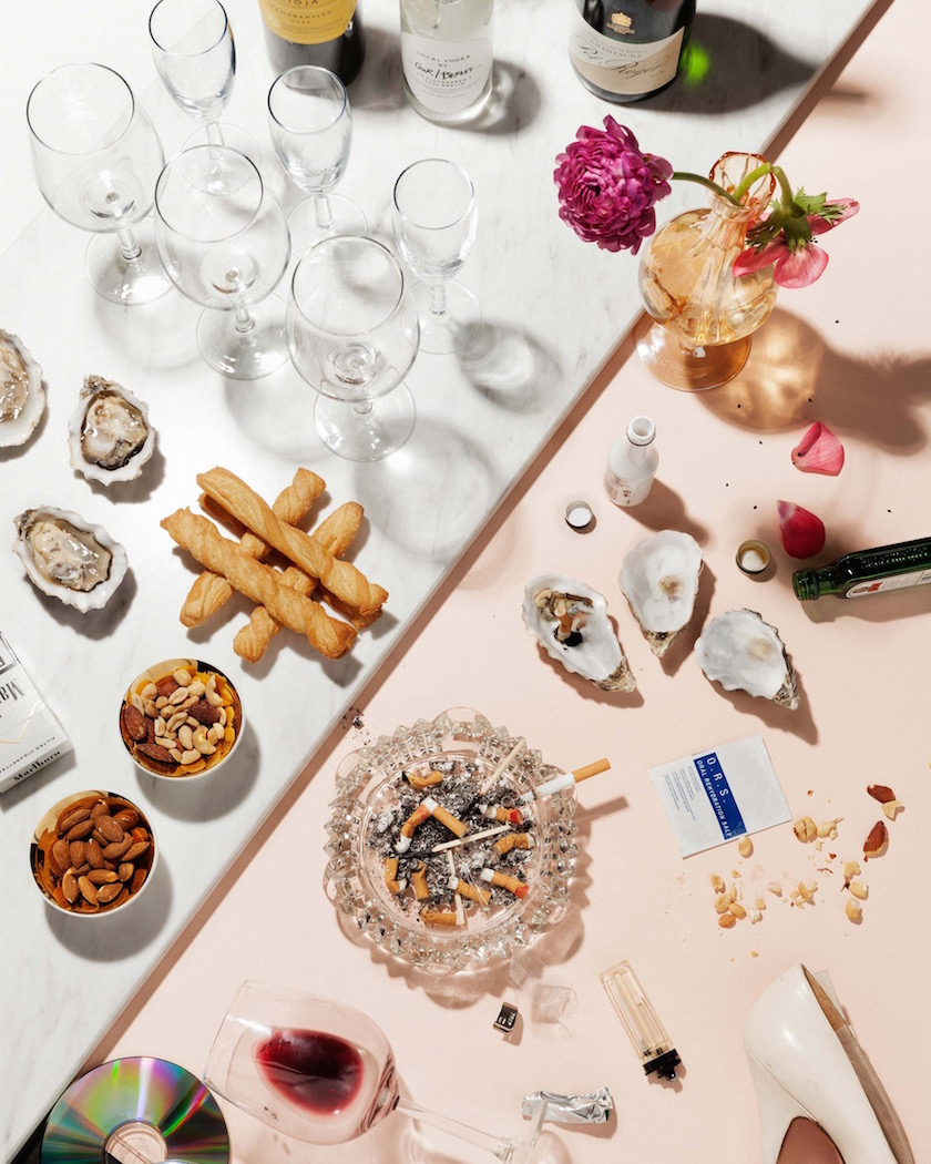 stills glass glasses bottles wine bottle flowers cigarettes ashtray smoking oysters peanuts almonds table food drinks drink