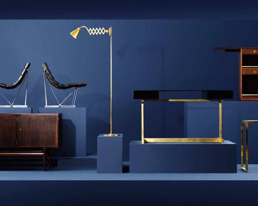 interiors stills lamp brass gold golden blue table chair sideboard