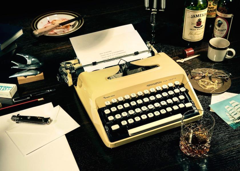 stills bottle bottles drink drinks glasses knife typewriter