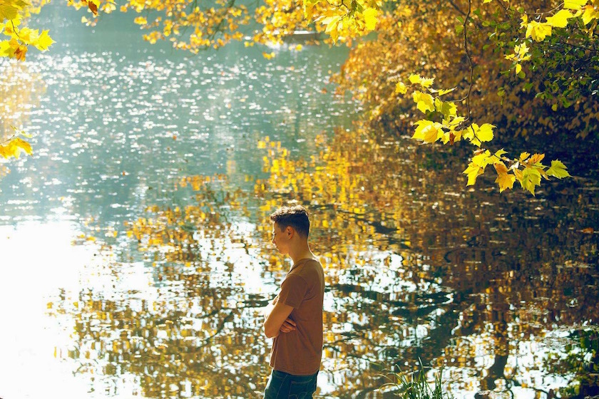 photo photos photography photographer photographers young man lake fall autumn reflection water tree orange river profile