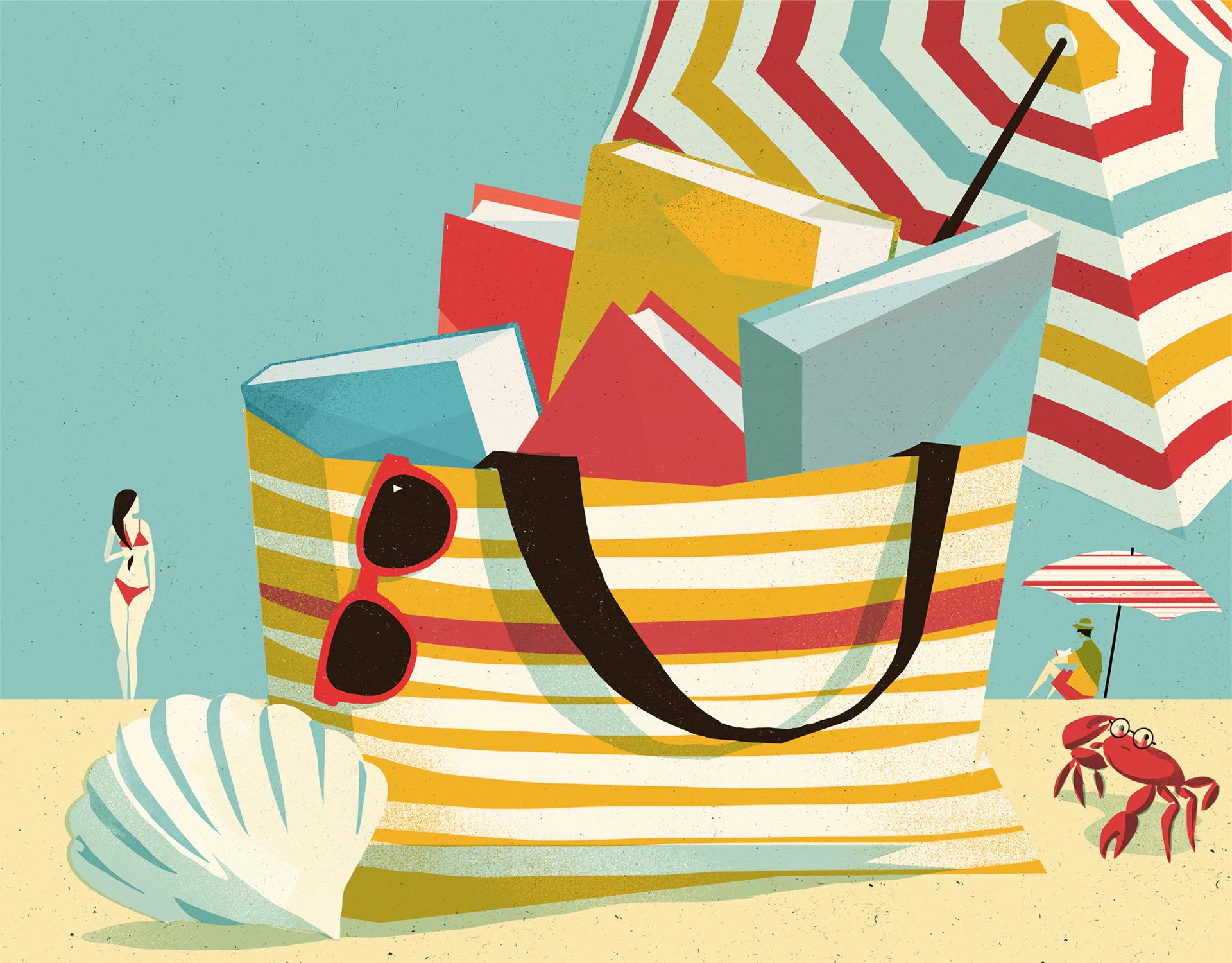 Digital Painting Elegant screenprint glasses beach bag parasol woman man crab book books stripe stripes sand shellfish shell