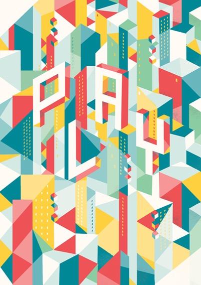 Digital Painting vector screenprint geometric geometrical building buildings play typography urban