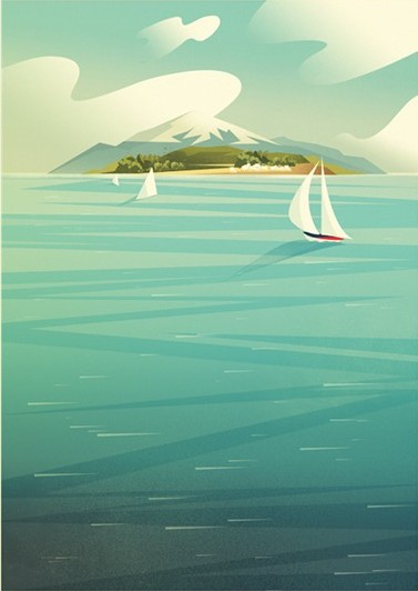 Digital Painting Elegant screenprint clouds cloud mountain boat ship see leisure transportation travel