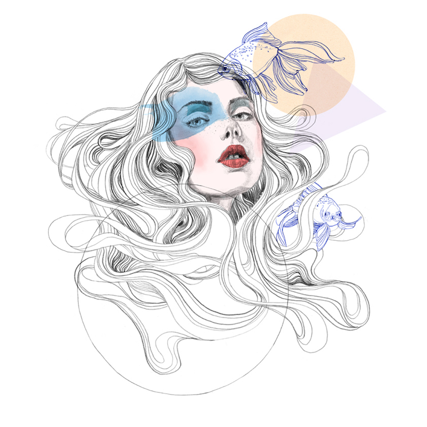 Hand Drawing Mixed Media Pen Pencil Hair fish fishes animals Watercolor Elegant Figurative Realistic Astrology Beauty Fashion People Portrait circle triangle