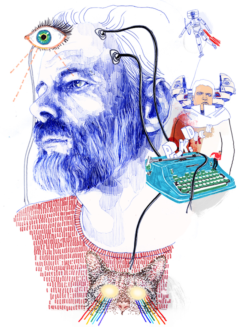 Hand Drawing Mixed Media Pen Figurative Realistic Animals Portrait People cat eye writing machine rainbow writer robot Philip K. Dick T-shirt beard connected mask Man Men Animal celebrity celebrities