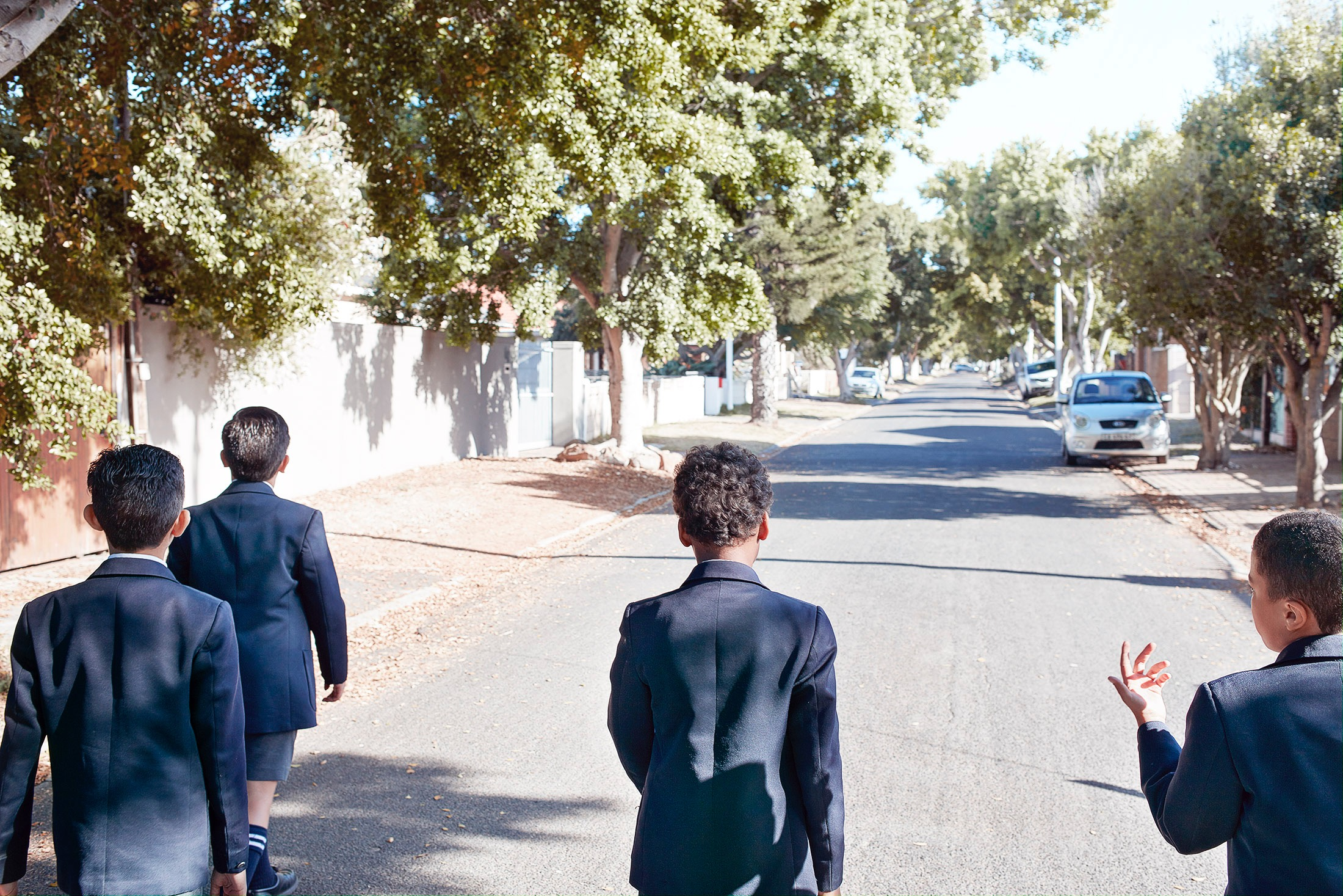 photo photography photographer school uniform education boy boys friends street walk walking backside