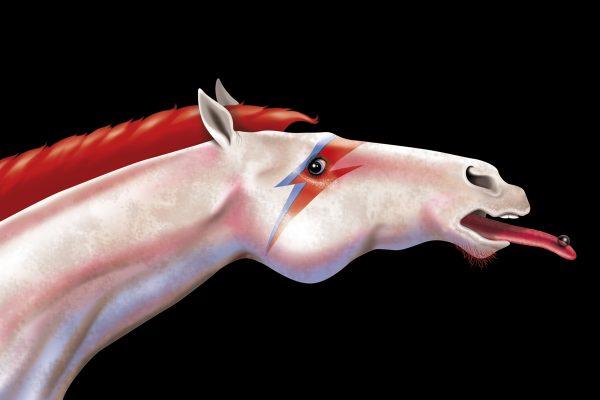 illustration, illustrations, illustrator, illustrators, unicorn, david bowie, fantasy, makeup, tongue, piercing