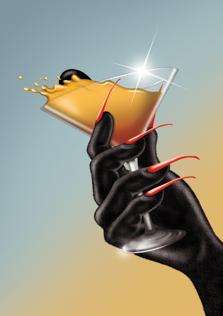 illustration, illustrations, illustrator, illustrators, hand, hands, nail, nails, drink, drinks, martini, alcohol, cocktail, cocktails, splash, flare, sun flare, reflection, gradient, red nails, liquid, glass, drink