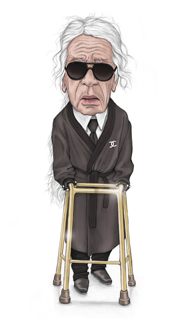 illustration, illustrations, illustrator, illustrators, man, men, karl lagerfeld, chanel, brand,branding, robe, suit, sunglasses, white hair, wrinkles, walker, reflection