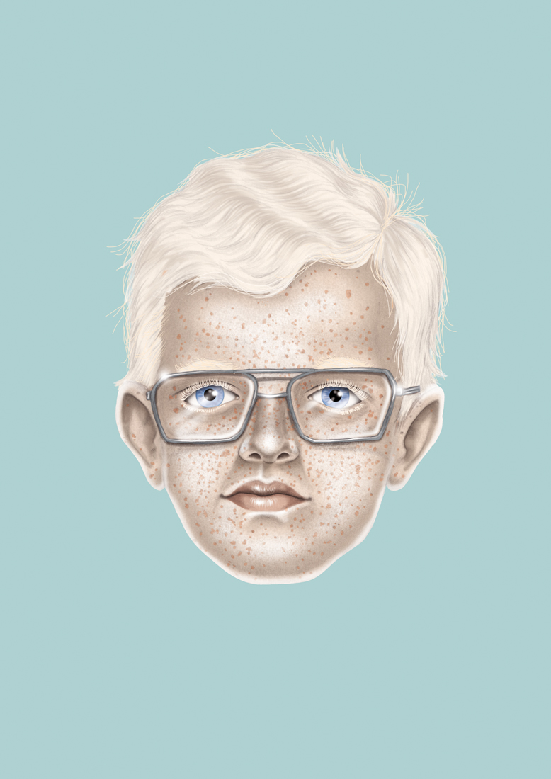 illustration, illustrations, illustrator, illustrators, boy, boys, glasses, blonde, freckles, face, float, floating
