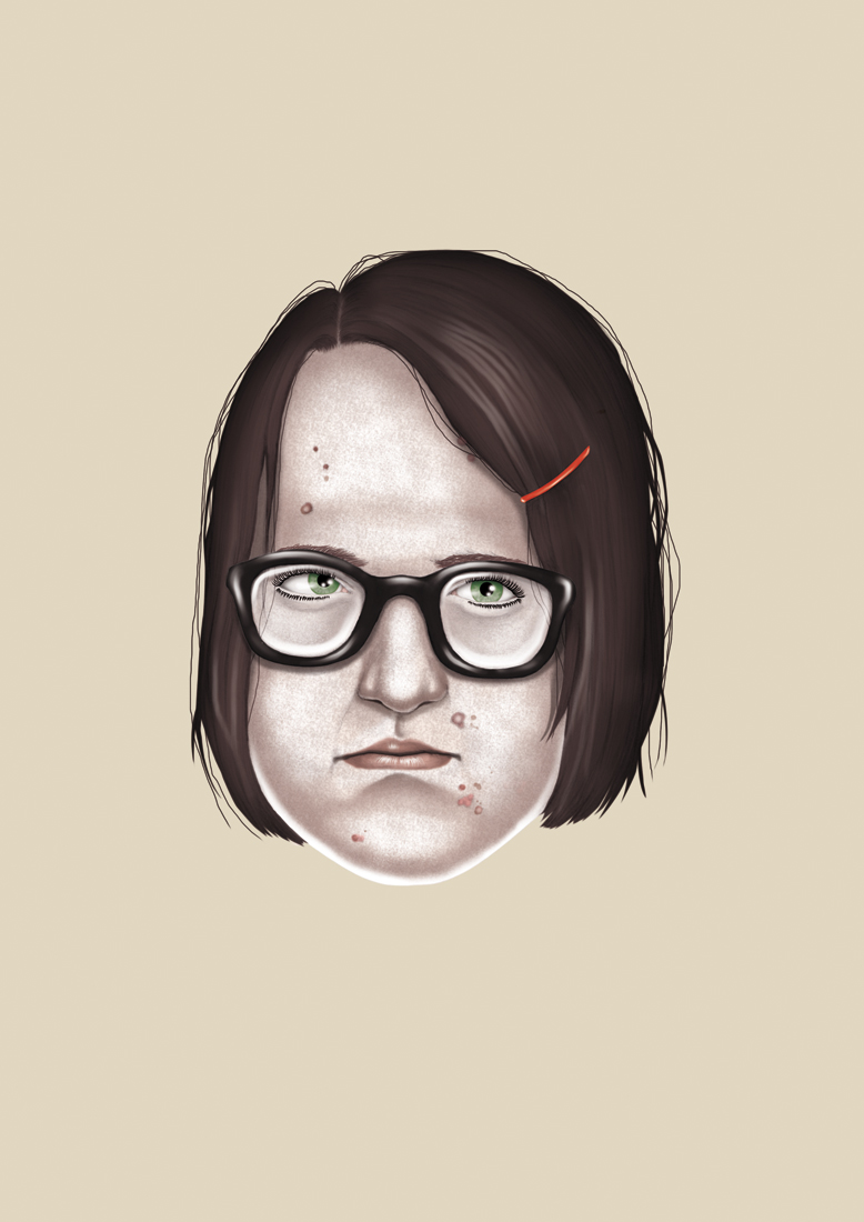 illustration, illustrations, illustrator, illustrators, woman, women, glasses, brunette, acne, face, floating, float
