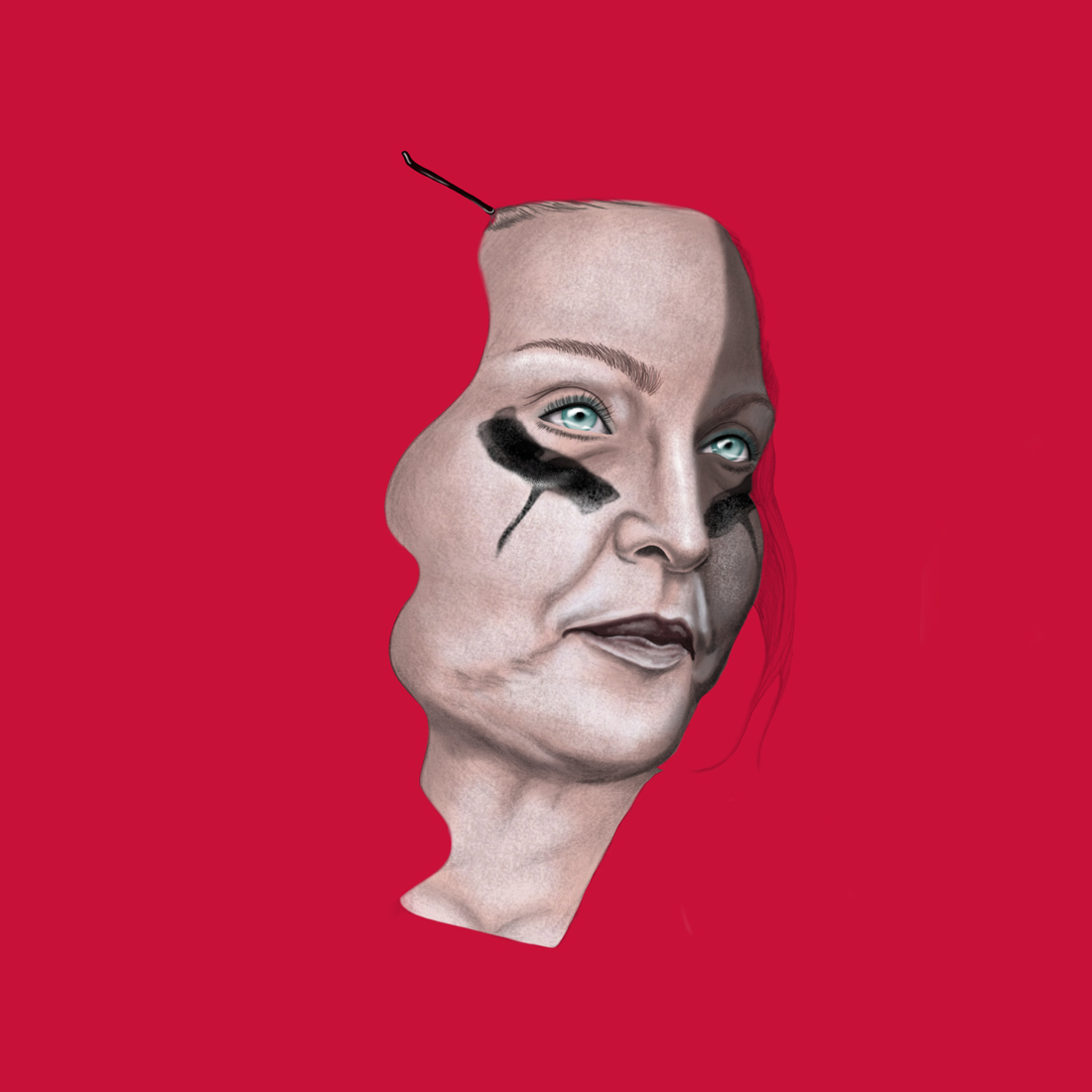 illustration, illustrations, illustrator, illustrators, woman, women, makeup, red background, eye makeup, drip, dripping