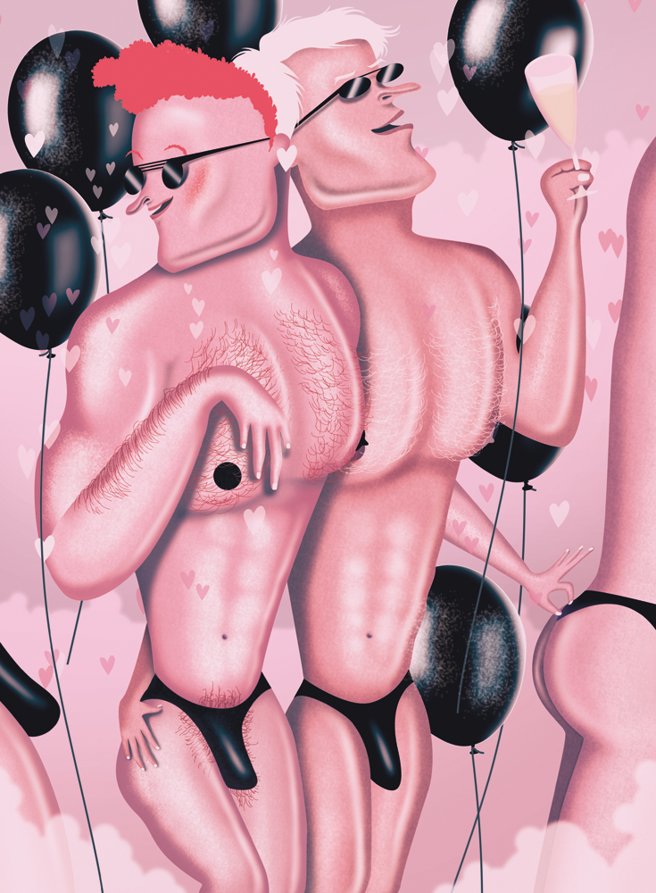 illustration, illustrations, illustrator, illustrators, man, men, chest, shirtless, hairy, sunglasses, pink, balloon, balloons, champagne, underwear, erotic, thongs, happy, smiling, celebration, celebrate