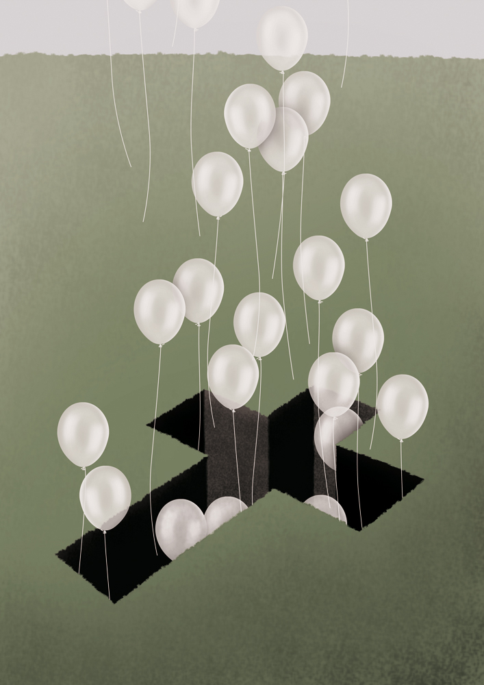 illustration, illustrations, illustrator, illustrators, surreal, balloon, balloons, cross, ground, grass, float, floating