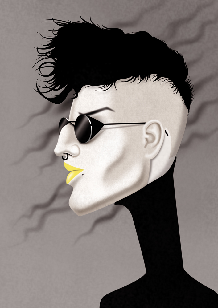 illustration, illustrations, illustrator, illustrators, profile, man, men, grayscale, selective color, sunglasses, hairstyle, hair, wind, lipstick, jewelry, turtleneck, weird, dark