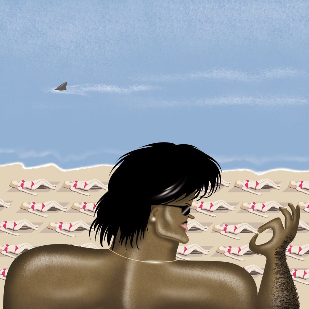 illustration, illustrations, illustrator, illustrators, man, men, woman, women, sunglasses, muscle, muscles, bikini, ocean, beach, sea, water, shark, swim, swimming, tan, tanning, funny