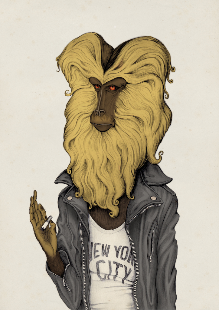 illustration, illustrations, illustrator, illustrators, monkey, monkeys, new york city, nyc, leather, leather jacket, jacket, cigarette, smoke, smoking, funny