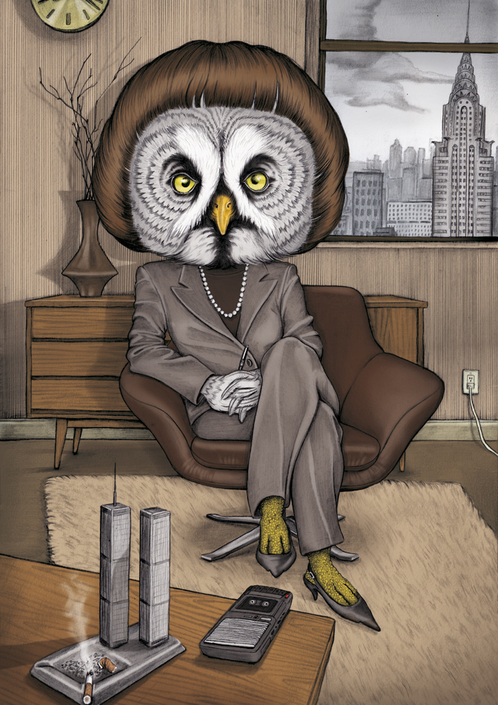 illustration, illustrations, illustrator, illustrators, owl, owls, hair, hairstyle, office, sit, sitting, new york, new york city, nyc, city, smoke, smoking, cigarette, cigarettes, phone, cell, cell phone, rug, texture, fur, cloudy, clouds, smog, vase, suit