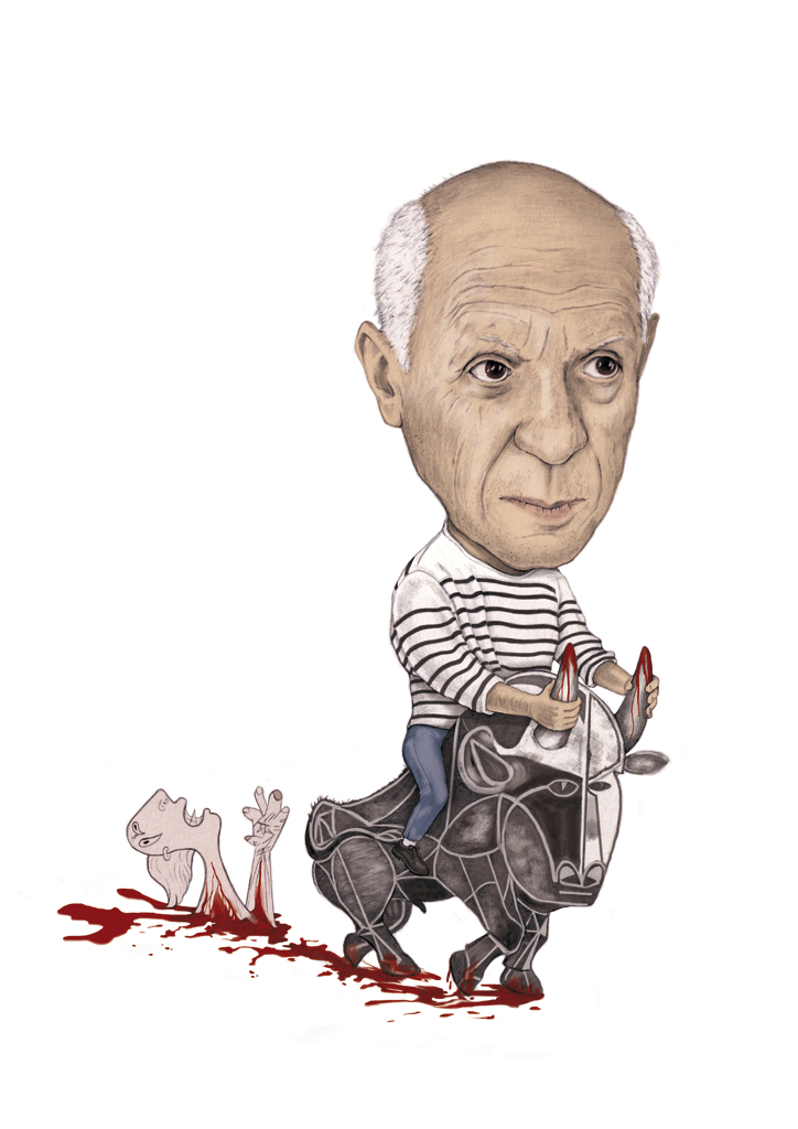 illustration, illustrations, illustrator, illustrators, man, men, picasso, artist, art, pattern, stripes, striped, blood, bloody, bull, woman, gore, dying, death, weird