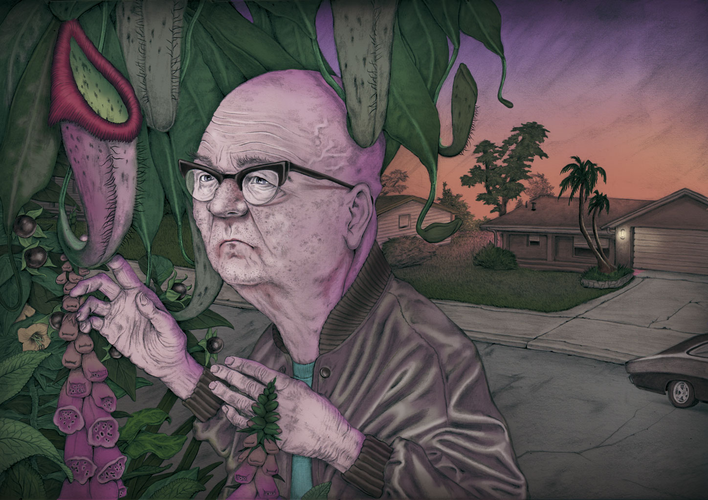 illustration, illustrations, illustrator, illustrators, man, men, gradient, sunrise, sunset, suburban, suburbs, neighbor, spy, spying, sneak, sneaking, palm tree, palm trees, car, cars, house, houses, streetlight, streetlamp, street, streets, plant, plants, flower, flowers, ivy, elderly, adult, glasses, bald, hand, hands, jacket