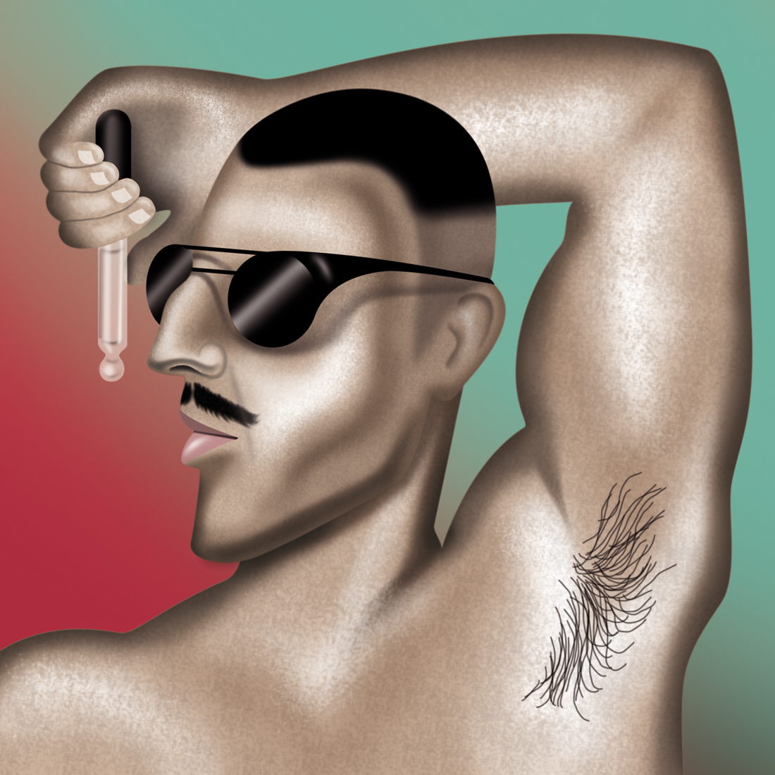 illustration, illustrations, illustrator, illustrators, hand, hands, man, men, sunglasses, body hair, muscles, muscle, gradient, highlight, sunglasses, mustache, facial hair, erotic