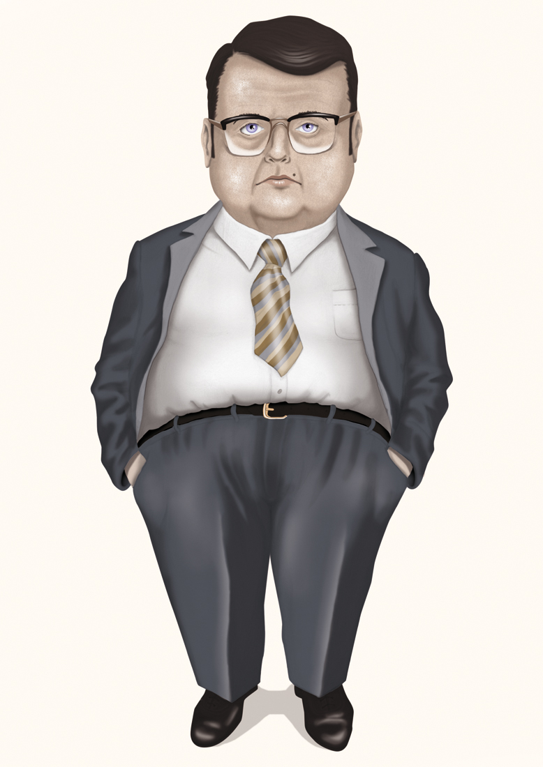 illustration, illustrations, illustrator, illustrators, man, men, fat, overweight, stand, standing, suit, conservative, tie, ties, glasses