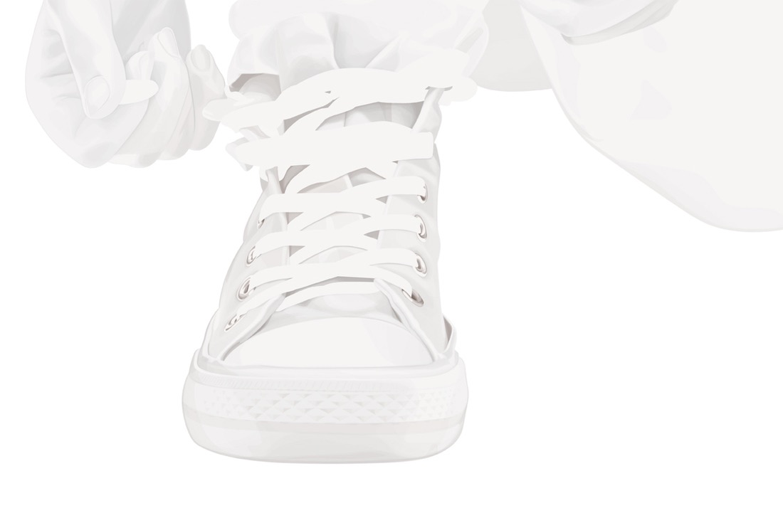 illustration, illustrations, illustrator, illustrators, foot, feet, sneakers, tennis shoes, lace, lacing, white washed, white, bleached